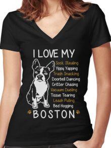 i love boston terrier Women's Fitted V-Neck T-Shirt