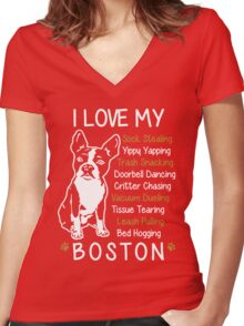 i love boston terrier Women's Fitted V-Neck T-Shirt