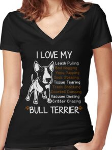 i love my bull terrier Women's Fitted V-Neck T-Shirt