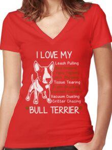 i love my bull terrier Women's Fitted V-Neck T-Shirt