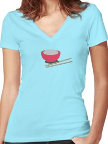 Asian rice  Women's Fitted V-Neck T-Shirt