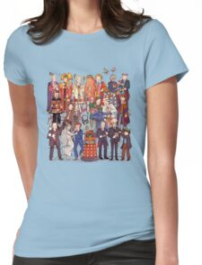 The party doesn't start until the Doctor walks in...twelve times Womens Fitted T-Shirt