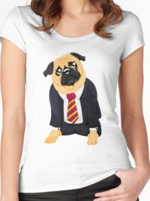 Pug in business suit Women's Fitted Scoop T-Shirt