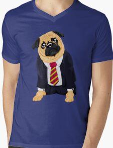 Pug in business suit Mens V-Neck T-Shirt