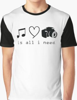 Music Love And Cmera is all i need Graphic T-Shirt