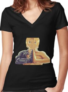 Fullmetal Awesomeness (Digital Painting of Edward Elric from the Manga/Anime Fullmetal Alchemist)  Women's Fitted V-Neck T-Shirt