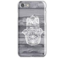 White hand drawn Hamsa hand of fatima on wood iPhone Case/Skin