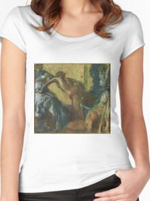 Edgar Degas - After the Bath , Impressionism Women's Fitted Scoop T-Shirt