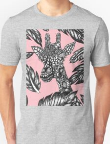 Cute black white floral giraffe pink illustration T-Shirt