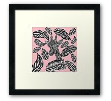 Cute black white floral giraffe pink illustration Framed Print