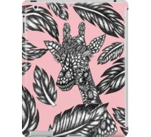 Cute black white floral giraffe pink illustration iPad Case/Skin