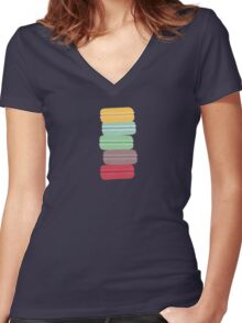 colourful macarons Women's Fitted V-Neck T-Shirt