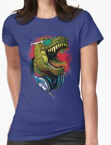 Tyrannosaurus Rex Chillin' With Headphones Womens Fitted T-Shirt