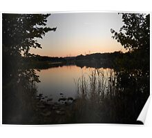 A nice sunset at the pond Poster