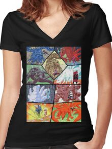 Fan art Jinjuriki and the tailed beast Women's Fitted V-Neck T-Shirt