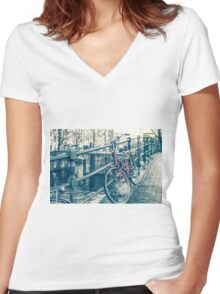 Amsterdam canal and bicycles Women's Fitted V-Neck T-Shirt