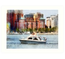 Maryland - Cabin Cruiser by Baltimore Skyline Art Print