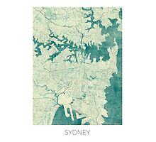 Sydney Map Blue Vintage Photographic Print