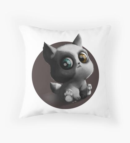 Chibi dog puppy sitting Throw Pillow