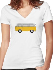 VW Type 2 Yellow Women's Fitted V-Neck T-Shirt