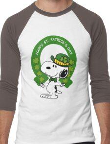 Snoopy Happy St Patricks Day Men's Baseball ¾ T-Shirt