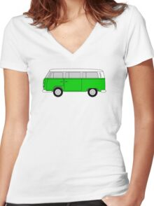 VW Type 2 Green Women's Fitted V-Neck T-Shirt