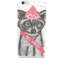 Funny girly raccoon illustration pink tiara iPhone Case/Skin