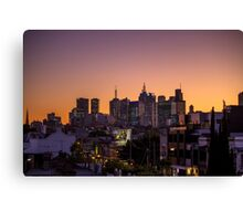 Melbourne skyline viewed from rooftops of Brunswick Street Canvas Print