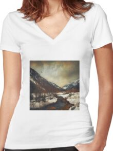 winter valley Women's Fitted V-Neck T-Shirt