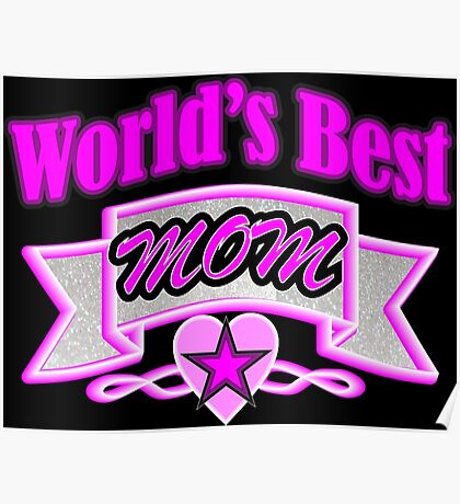 Cool mother's day fuchsia typography World's Best Mom Poster