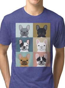 French Bulldog portraits pattern dog person gift love animal pet puppy frenchie bulldog valentines Tri-blend T-Shirt