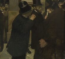Edgar Degas - Portraits at the Stock Exchange (1878 - 1879) by famousartworks