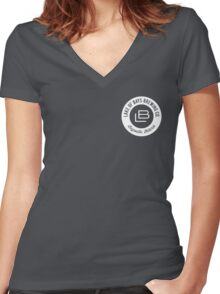 Lake of Bays Logo - White Women's Fitted V-Neck T-Shirt