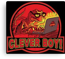 Clever Boy Velociraptor Dinosaur Humor Canvas Print