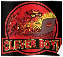 Clever Boy Velociraptor Dinosaur Humor Poster
