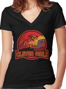 Clever Girl Velociraptor Dinosaur Humor Women's Fitted V-Neck T-Shirt