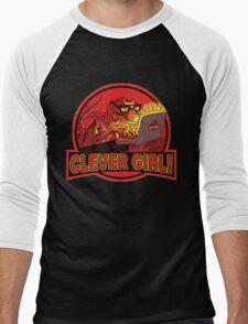 Clever Girl Velociraptor Dinosaur Humor Men's Baseball ¾ T-Shirt
