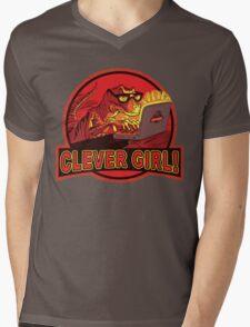 Clever Girl Velociraptor Dinosaur Humor Mens V-Neck T-Shirt