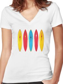 My cool vintage surfboards  Women's Fitted V-Neck T-Shirt