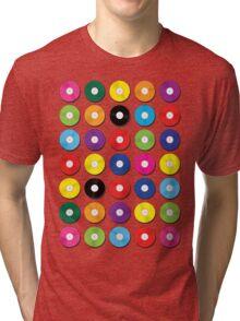 Music Vinyl Record Spots Sml Tri-blend T-Shirt