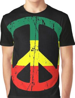 Rasta Peace and love - Distressed Graphic T-Shirt