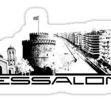 Thessaloniki skyline city black Sticker