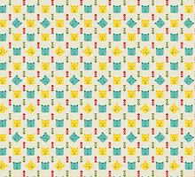 Cats and fish bones seamless pattern by NosyChick