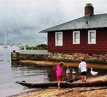 Children Playing At Harbor Essex Ct by Susan Savad