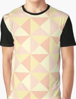 Peach Yellow Orange Pink Geometric Triangles Pattern Graphic T-Shirt