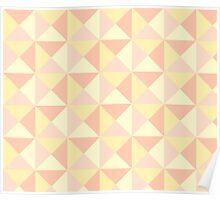 Peach Yellow Orange Pink Geometric Triangles Pattern Poster