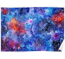 Space hand painted watercolor background Poster