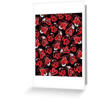 Red - black flowers Greeting Card