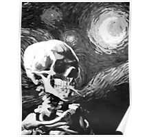 Skull with burning cigarette on a Starry Night BW Poster