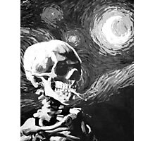 Skull with burning cigarette on a Starry Night BW Photographic Print